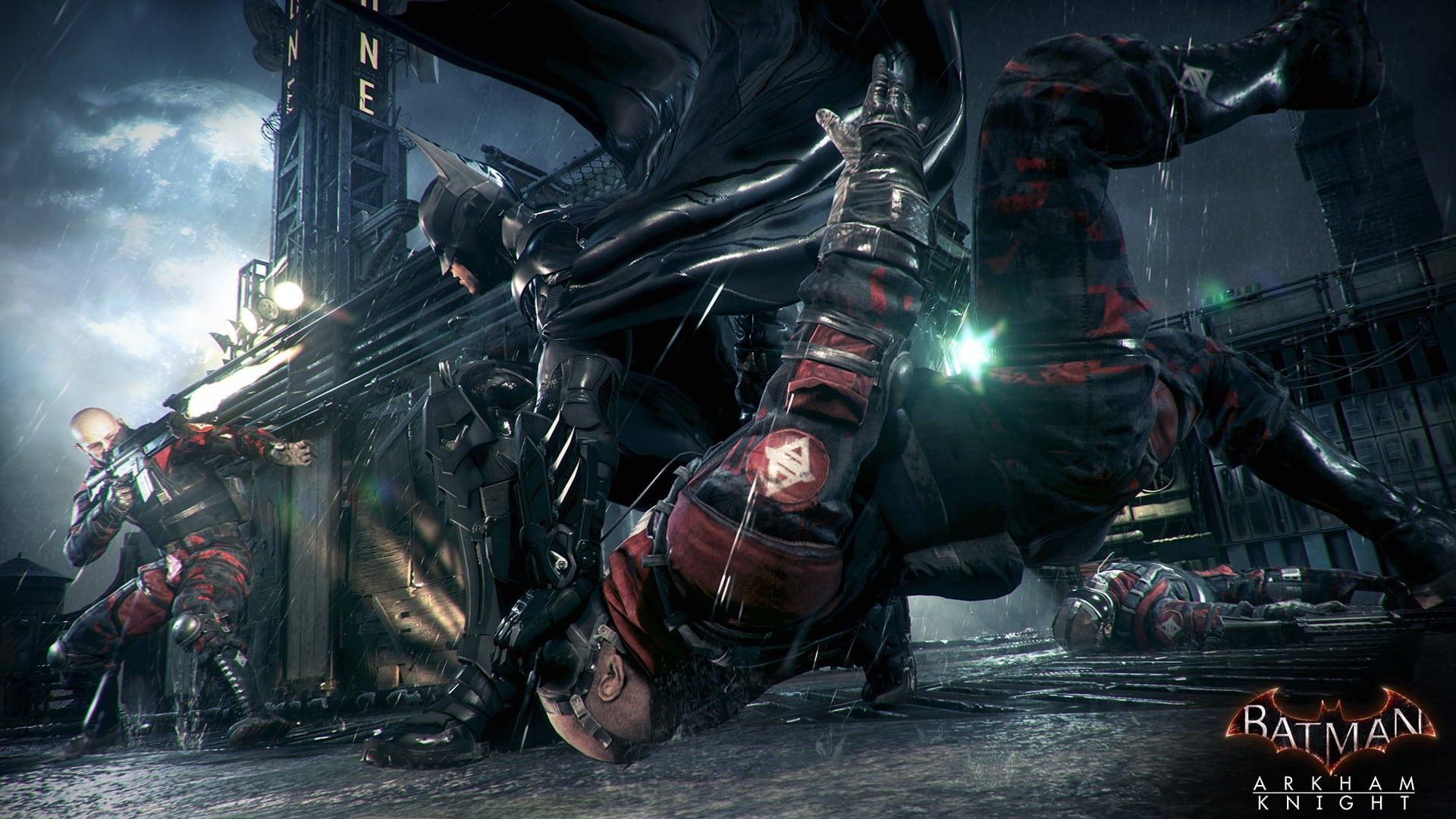 Wallpaper Batman With Batmobile Arkham Knight Vs In Action Bad Guys 2